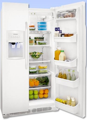 Frigidaire FFHS2622MW 26.0 cu. ft. Side by Side Refrigerator, SpillSafe Glass Shelves, Gallon Door Bins, Humidity-Controlled Crisper, External Ice/Water Dispenser