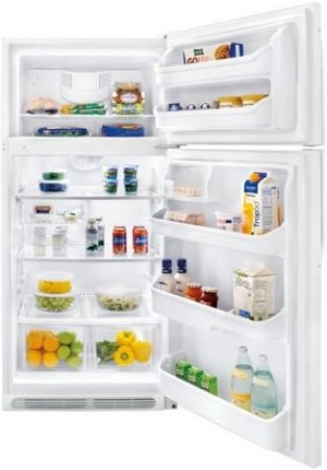Frigidaire FFHT1826LW 18.2 cu. ft. Top Freezer Refrigerator, 2 Sliding SpillSafe Shelves, 2 Humidity Controlled Crisper Drawers, Store-More Gallon Door Storage, Cool Zone Drawer