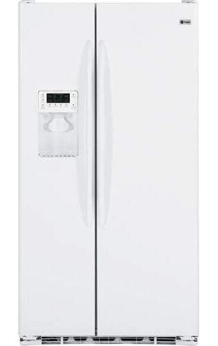 GE PSCS3RGXWW Profile 23.3 cu. ft. Counter Depth Side by Side Refrigerator, Glass Shelves, External Ice and Water Dispenser, White