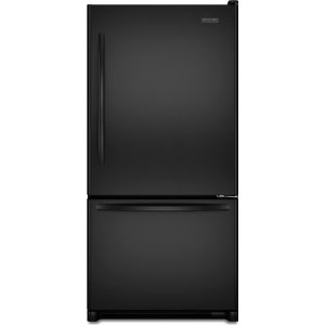 KitchenAid Architect II KBRS22KWBL 21.9 cu. ft. Bottom-Freezer Refrigerator, SpillClean Glass Shelves, FreshSeal Humidity-Controlled Crispers, Max Cool, Digital Controls, Black