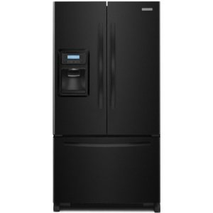 KitchenAid Architect II KFIS25XVBL 24.9 cu. ft. French Door Refrigerator, Adjustable Spillproof Shelves, Humidity-Controlled Crispers, External Ice & Water Dispenser and FreshChill System, Black