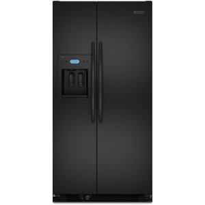 KitchenAid Architect II KSCS25FVBL 24.5 cu. ft. Side by Side Refrigerator, Spillproof Glass Shelves, Gallon Door Storage, Humidity-Controlled Crisper, External Ice/Water Dispenser, Black
