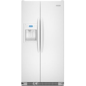 KitchenAid Architect II KSCS25FVWH 24.5 cu. ft. Side by Side Refrigerator, Spillproof Glass Shelves, Gallon Door Storage, Humidity-Controlled Crisper, External Ice/Water Dispenser, White