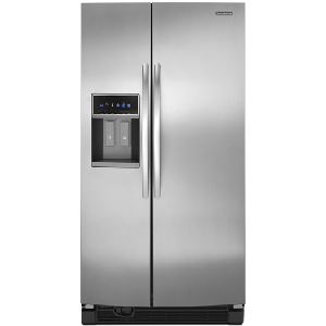 KitchenAid Architect II KSRJ25FXMS 25.6 cu. ft. Side by Side Refrigerator, Adjustable SpillClean Glass Shelves, In-Door-Ice, External Ice/Water Dispenser with LCD Display, Monochromatic Stainless Steel