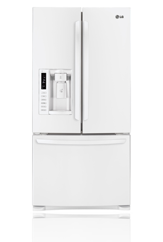 LG LFX25978SW 24.9 cu. ft. French Door Refrigerator with 4 Tempered Glass Shelves, 2 Humidity Crispers, Slim SpacePlus Ice System, Tall Ice/Water Dispensing System and Premium LED Interior Light: Smooth White