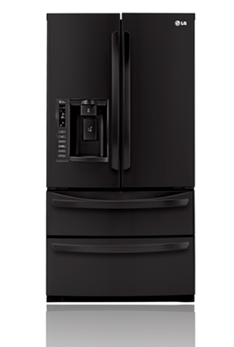 LG LMX28988SB 27.5 cu. ft. French Door Refrigerator with Slide-Out Spill Protector Glass Shelves, Glide N' Serve Drawer, Double Freezer Drawers and External Tall Ice/Water Dispenser: Smooth Black
