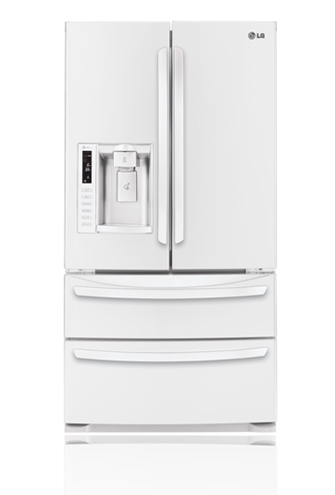 LG LMX28988SW 27.5 cu. ft. French Door Refrigerator with Slide-Out Spill Protector Glass Shelves, Glide N' Serve Drawer, Double Freezer Drawers and External Tall Ice/Water Dispenser: Smooth White