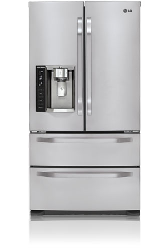LG Studio LSMX214ST 20.5 cu. ft. Counter-Depth French Door Refrigerator, 4 Compartment Crisper, External Ice/Water Dispenser, Double Freezer Drawers