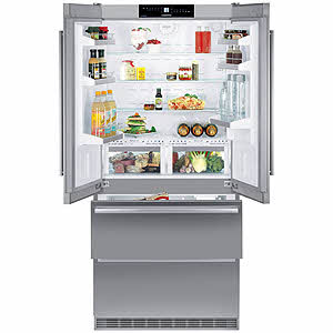 Liebherr CBS2062 18.8 cu. ft. Counter-Depth French Door Refrigerator with Glass Shelves, BioFresh Drawers, LED Light Columns, Duo Cooling System and Ice Maker