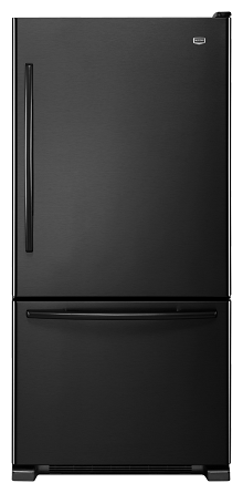 Maytag MBF2258XEB 21.9 cu. ft. Bottom-Freezer Refrigerator, 5 Adjustable Spill-Catcher Glass Shelves, Ice Maker, Glide-Out Freezer Drawer, Energy Star, Electronic Temperature Controls