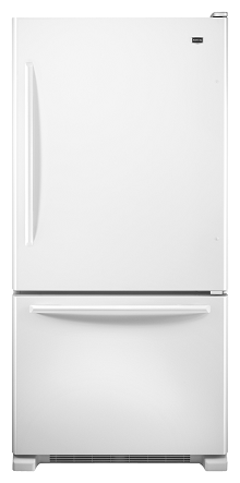Maytag MBF2258XEW 21.9 cu. ft. Bottom-Freezer Refrigerator, 5 Adjustable Spill-Catcher Glass Shelves, Ice Maker, Glide-Out Freezer Drawer, Energy Star. Electronic Temperature Controls