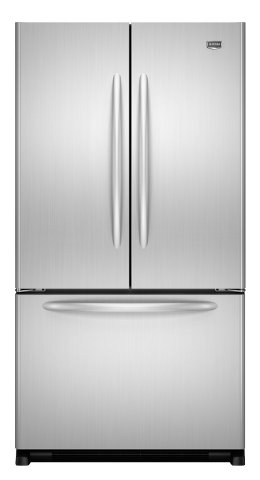 Maytag MFF2558VEM 24.8 cu. ft. French Door Refrigerator, 5 Spill-Catcher Glass Shelves, Dual Cool System, Humidity Controlled Crispers, Beverage Organizer Rack, Ice Maker, Hidden Hinges: Stainless Steel
