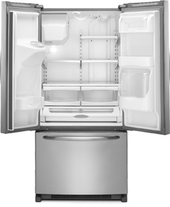 Maytag Ice2O MFI2269VEM 22.0 cu. ft. French-Door Refrigerator, Adjustable Spill-Catcher Glass Shelves, Beverage Chiller Compartment, Humidity-Controlled Crispers, External Ice/Water Dispenser, Exterior Electronic Controls