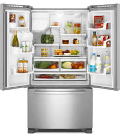 Maytag Ice2O EcoConserve MFI2665XEM 25.5 cu. ft. French Door Refrigerator, 4 Spill-Catcher Glass Shelves, 2 FreshLock Crispers, SmoothClose Freezer Drawer, External Water/Ice Dispenser