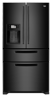 Maytag Ice2O MFX2571XEB 25 cu. ft. French Door Refrigerator, 4 Adjustable Spill-Catcher Shelves, Easy Access Refrigerator Drawer, Flush Exterior Ice/Water Dispenser, Rotating Faucet, Color LCD Touch Screen, LED Interior Lighting