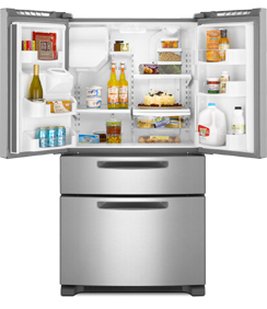 Maytag Ice2O MFX2571XEM 25 cu. ft. French Door Refrigerator, 4 Adjustable Spill-Catcher Shelves, Easy Access Refrigerator Drawer, Flush Exterior Ice/Water Dispenser, Rotating Faucet, Color LCD Touch Screen, LED Interior Lighting