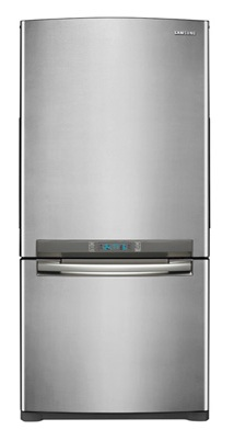 Samsung RB195ACPN 18 cu. ft. Counter-Depth Bottom-Freezer Refrigerator with Slide Out Glass Shelves, Twin Cooling, LED Lighting, External Digital Controls, Power Freeze/Cool and Ice Maker: Stainless Platinum