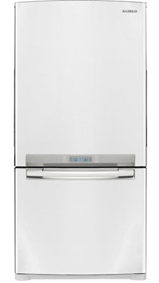 Samsung RB195ACWP 18 cu. ft. Counter-Depth Bottom-Freezer Refrigerator with Slide Out Glass Shelves, Twin Cooling, LED Lighting, External Digital Controls, Power Freeze/Cool and Ice Maker: White Pearl