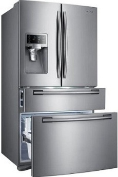 Samsung RF4287HARS 28 cu. ft. French Door Refrigerator, 5 Spill Proof Glass Shelves, Twin Cooling Plus System, Surround Air Flow, FlexZone Drawer, Counter Height Design, External Ice/Water Dispenser