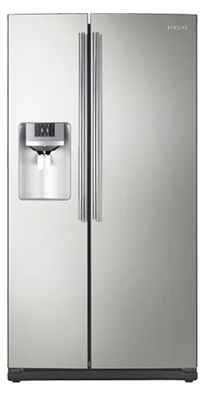 Samsung RS261MDPN 26 cu. ft. Side by Side Refrigerator, 4 Tempered Glass Spill Proof Shelves, Power Freeze/Cool Options, LED Lighting, Compact Icemaker, Door Alarm, External Ice/Water Dispenser