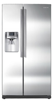 Samsung RS261MDRS 26 cu. ft. Side by Side Refrigerator, 4 Tempered Glass Spill Proof Shelves, Power Freeze/Cool Options, LED Lighting, Compact Icemaker, Door Alarm, External Ice/Water Dispenser