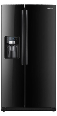 Samsung RS263TDBP 26 cu. ft. Side by Side Refrigerator, 4 Glass Shelves, LED Lighting, Twin Cooling System, Power Freeze/Cool Options, Compact Icemaker, External Water/Ice Dispenser