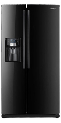 Samsung RS265TDBP 26 cu. ft. Side by Side Refrigerator, 4 Spill Proof Glass Shelves, Twin Cooling System, Power Freeze/Cool Options, In-door Icemaker, External Filtered Water/Ice Dispenser