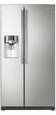 Samsung RS267TDPN 26 cu. ft. Side by Side Refrigerator, 4 Spill Proof Glass Shelves, Twin Cooling, LED Tower Lighting, Wine Rack, Cool Select Zone, In-door Ice Maker, External Water/ Ice Dispenser