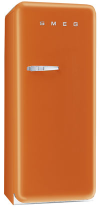 Smeg FAB28UO 9.22 cu. ft. 50's Style Refrigerator, Antibacterial Interior, Ice Compartment, Adjustable Glass Shelves: Orange