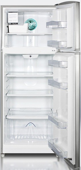 Summit FF1425SSIM 12.7 cu. ft. Counter-Depth Top-Freezer Refrigerator, Adjustable Glass Shelves, Door Storage, Recessed Handles