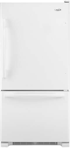Whirlpool Gold GB9FHDXWQ 18.5 cu. ft. Bottom-Freezer Refrigerator, 5 Spillproof Glass Shelves, Clear Humidity-Controlled Crisper, Slide-Out Freezer Drawer, Factory Installed Automatic Ice Maker