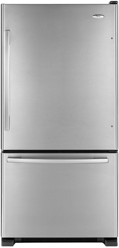 Whirlpool Gold GB9FHDXWS 18.5 cu. ft. Bottom-Freezer Refrigerator, 5 Spillproof Glass Shelves, Clear Humidity-Controlled Crisper, Slide-Out Freezer Drawer, Factory Installed Automatic Ice Maker
